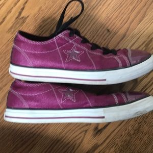 52ba3f2bd0a8 Converse Shoes - Fuschia Converse One Stars Sparkly Sneakers Shoes